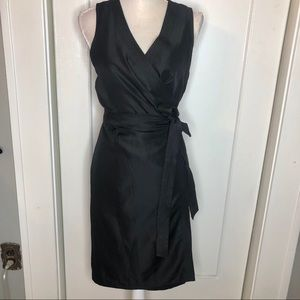 Banana Republic Wrap Dress Black satin 6